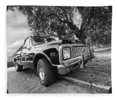 Halcyon Days - 1971 Chevy Pickup Bw Fleece Blanket