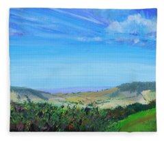 Haldon Hills Sea View Fleece Blanket