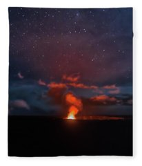 Halemaumau Crater At Night Fleece Blanket