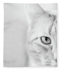 Half Cat Fleece Blanket