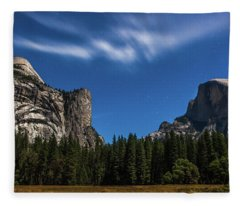 Half Dome And Moonlight - Yosemite Fleece Blanket