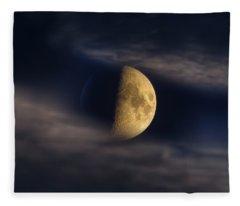 Half Moon Seen Through Night Clouds Fleece Blanket