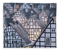 Half-timbered Houses In Detail In Germany Fleece Blanket