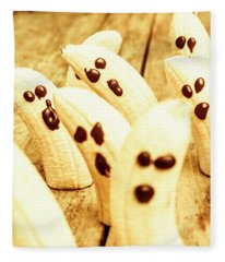 Halloween Banana Ghosts Fleece Blanket