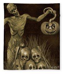Halloween Graveyard-b Fleece Blanket