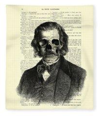 Halloween Skull Portrait In Black And White Fleece Blanket