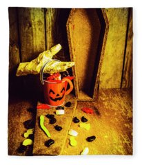 Halloween Trick Of Treats Background Fleece Blanket