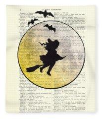 Witch Flying With Full Moon Fleece Blanket