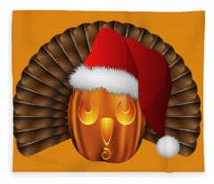 Hallowgivingmas Santa Turkey Pumpkin Fleece Blanket