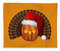 Hallowgivingmas Santa Turkey Pumpkin Fleece Blanket