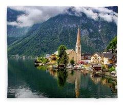 Hallstatt Across The Lake, Austria  Fleece Blanket
