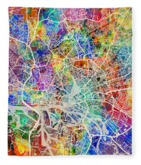 Hamburg Germany City Map Fleece Blanket