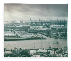 Hamburg Port  Fleece Blanket