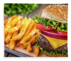 Hamburger And Fries Fleece Blanket