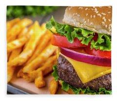 Hamburger Close Up Fleece Blanket