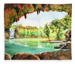 Hamilton Pool Texas Fleece Blanket