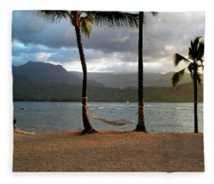 Hammock At Hanalei Bay Fleece Blanket