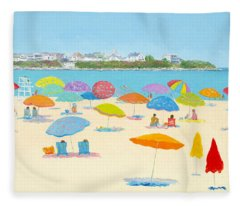 Hampton Beach Umbrellas Fleece Blanket