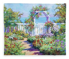 Hamptons Summer Garden Fleece Blanket