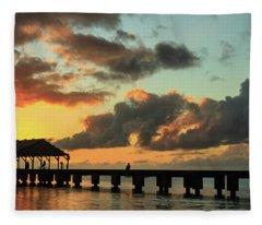 Hanalei Pier Sunset Panorama Fleece Blanket