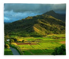 Hanalei Valley Taro Fields Fleece Blanket