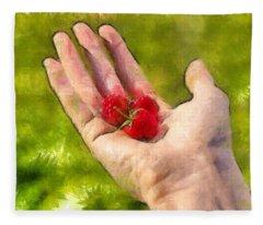 Hand And Raspberries - Da Fleece Blanket