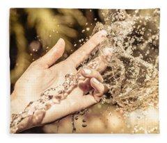 Hand Of A Woman Catching Water Stream Fleece Blanket
