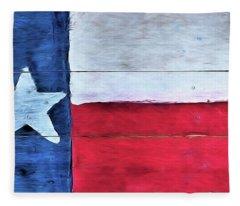 Hand Painted Texas Flag Fleece Blanket