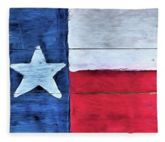 Hand Painted Texas Flag Fleece Blanket