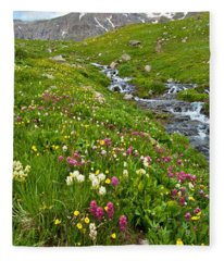 Handie's Peak And Alpine Meadow Fleece Blanket