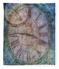 Hands Of Time Clocks On A Wall Fleece Blanket