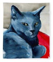 Handsome Russian Blue Cat Fleece Blanket