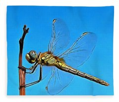 Hang On In There Artistic Dragonfly Fleece Blanket