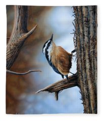 Hangin Out - Nuthatch Fleece Blanket