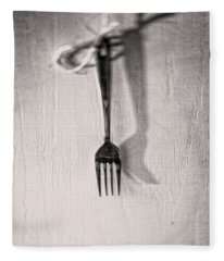Hanging Fork On Jute Twine In Bw Fleece Blanket