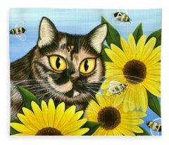 Hannah Tortoiseshell Cat Sunflowers Fleece Blanket