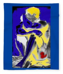 Original Contemporary Painting A Handsome Nude Man Fleece Blanket