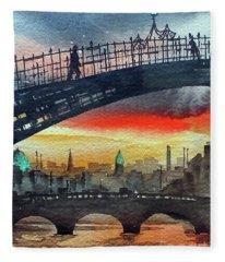 Hapenny Bridge Sunset, Dublin...27apr18 Fleece Blanket