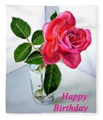 Happy Birthday Card Rose  Fleece Blanket
