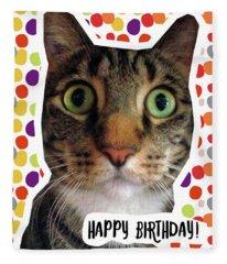 Happy Birthday Cat- Art By Linda Woods Fleece Blanket