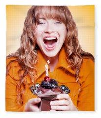 Happy Birthday Girl With Party Cupcake Fleece Blanket