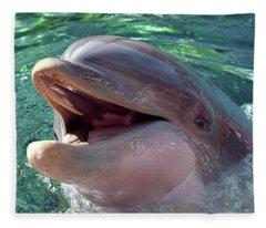 Happy Dolphin - Big Smile Fleece Blanket