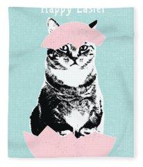 Happy Easter Cat- Art By Linda Woods Fleece Blanket