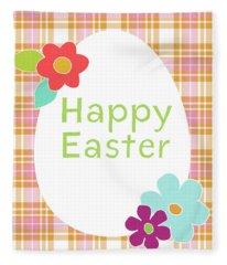 Happy Easter Egg Pink Plaid- Art By Linda Woods Fleece Blanket