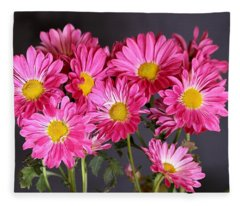 Happy Face Pink Mums Fleece Blanket