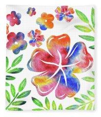 Happy Flowers Watercolor Silhouettes  Fleece Blanket