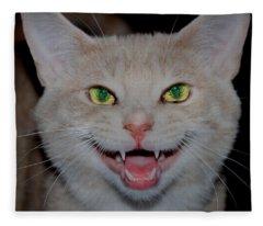 Happy For Spring Cat Fleece Blanket