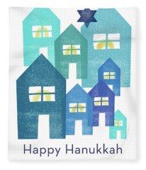 Happy Hanukkah Houses- Art By Linda Woods Fleece Blanket