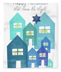 Happy Hanukkah Light - Art By Linda Woods Fleece Blanket