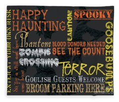 Happy Haunting Typography Fleece Blanket